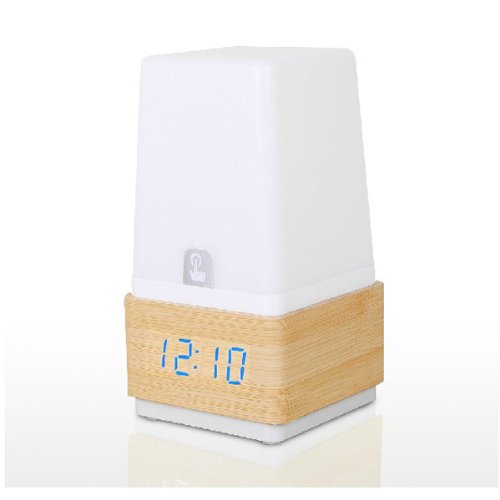 Multifunctional Wood Touch Desk Lamp Led Clock Voice Sound Controlled Alarm Clock Blue Lights