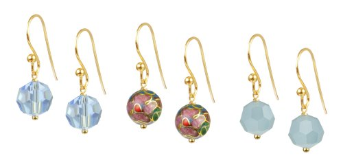 Baby Blue Floral Cloisonne and Faceted Glass Bead Earrings Set