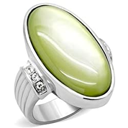 Stainless Steel Apple Green Oval Shape Cubic Zirconia Ring SZ 7