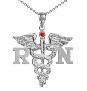 NursingPin - Registered Nurse RN Nursing Charm with Ruby on Necklace in Silver - 18IN