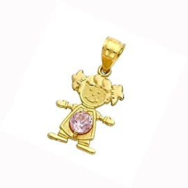 14K Yellow Gold Girl Birthstone Charm Pendant October Simulated Tourmaline
