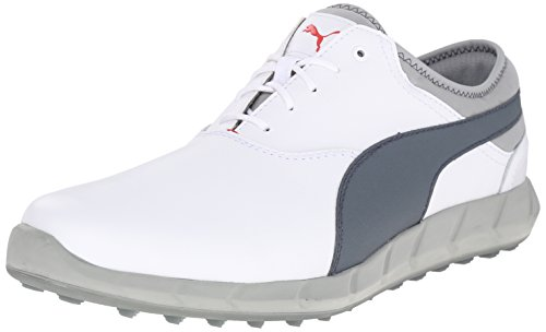 PUMA Men's Ignite Spikeless Golf Shoe, White/Turbulence/High Risk Red, 10.5 M US