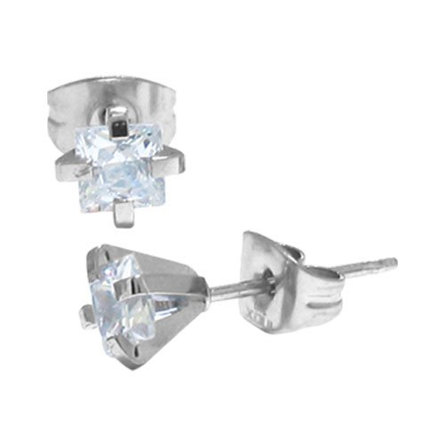 Inox Jewelry 316 Stainless Steel Square cz Stud Earrings in Gunmetal