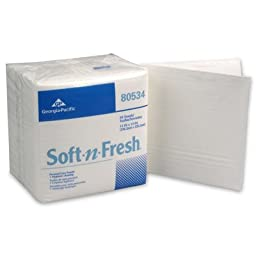Georgia-Pacific 80534 White, 50 Count Disposable Soft-n-Fresh Patient Care Wash Cloths-13 x 13
