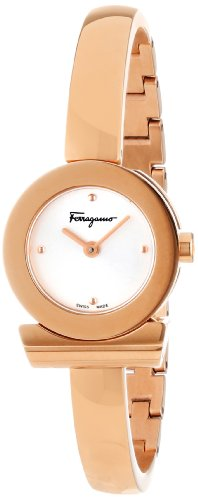 Ferragamo Women's FQ5030013 Gancino Bracelet Rose Gold Ion-Plated Stainless Steel Silver Sunray Dial Watch