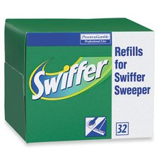 Procter & Gamble Commercial Products - Swiffer Refill Dry Cloths, 32/BX - Sold as 1 BX - Swiffer dry cloths are designed for use with Procter and Gamble Swiffer Sweeper. Offers a dust-free clean. Safe for wood, ceramic, vinyl tile, electronics and other hard surfaces. Use on unfinished, oiled, or waxed wooden boards, non sealed tiles or carpeted floors. Swiffer dry cloths leave no residue.