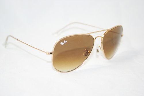 Image of Ray-Ban Aviator Gold Metal Frame Sunglasses, 58 mm