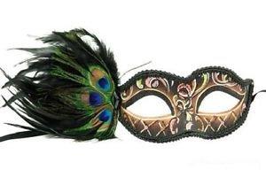 [Masquerade Halloween Venetian Half Face Eye Mask with Peacock Feather] (Peacock Spider Costume)