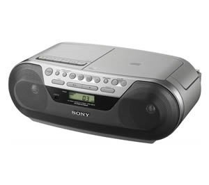 Sony Cd Radio Cassette Recorder Display Lcd External Antenna Am Fm Portable Boombox Mega Bass