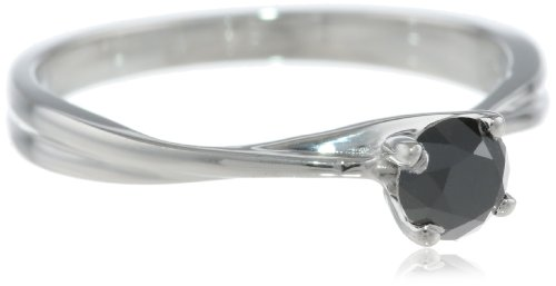 10k White Gold Black Diamond Solitaire Ring (1/2 cttw), Size 5