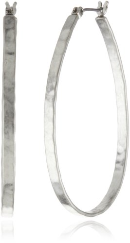Lucky Brand Medium Silver-Tone Oblong Hoop Earrings