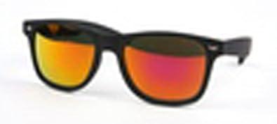 Wayfarer Style UV Vintage Plastic Frame Colorful Sunglasses,One Size,Black/Orange Mirror Lens