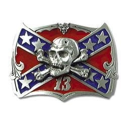 Confederate Skull Flag Belt Buckle! Bikers Favorite