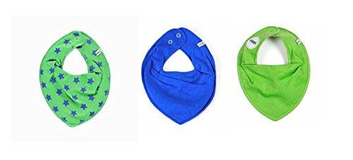 Pippi 3er Set Baby Dreieckstuch Halstuch Lätzchen Sterne ~ blau ~ grün