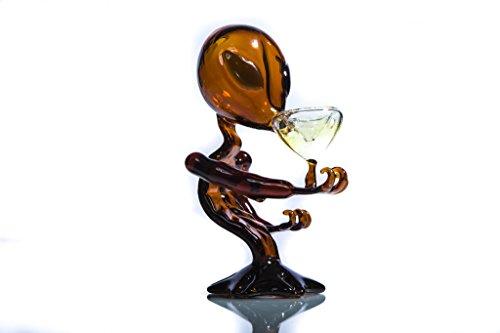 SmokDitrots Glaze Glass Alien Smoking Bottle, Tobacco ET Pipe Cigarette Accessories Crafts(brown)