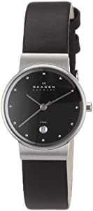 Skagen Ladies Watch 355SSLB with Black Leather Strap and Black Dial