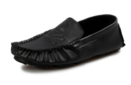 Ningdom Men's Genuine Leather Skull Retro Fabric Gommino Driving Shoe Horsebit Moccasins Loafer (EU 42, Balck)