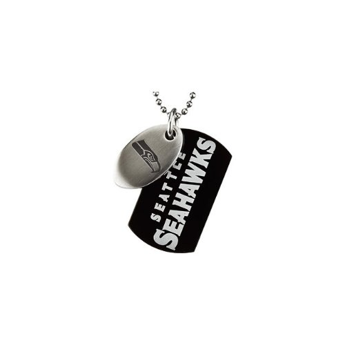 4 St Steel 45mm Seattle Seahawks NFL Football Team Jewelry Men 2 Dog Tag W/Chain
