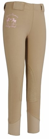 Equine Couture Girl'S Riding Club Tights Pull-On Breech, Safari, 8