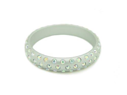 Baby Austrian Crystal Lucite Bangle Bracelet-SILVER