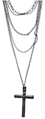 Leegoal Fashion Retro Multi-layer Chain Pendant Black Cross Metal Long