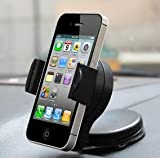 Car Phone Mount for Windshield & Dashboard - Fits Iphone, Samsung Gs4, HTC One, Motorola Droid Razr & Blackberry Q Series, Garmin and Tomtom GPS and Other Mobile Smart-devices