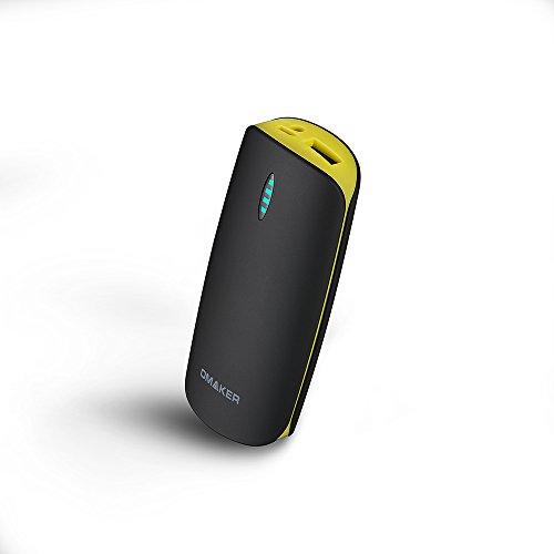 Omaker モバイルバッテリー 5200mAH 2.1A高出力 小型USB急速充電器 ブラック+イエロー