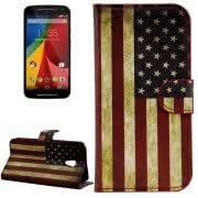 Retro US Flag Pattern Leather Case with Holder Card Slots for Moto G(2nd Gen.)