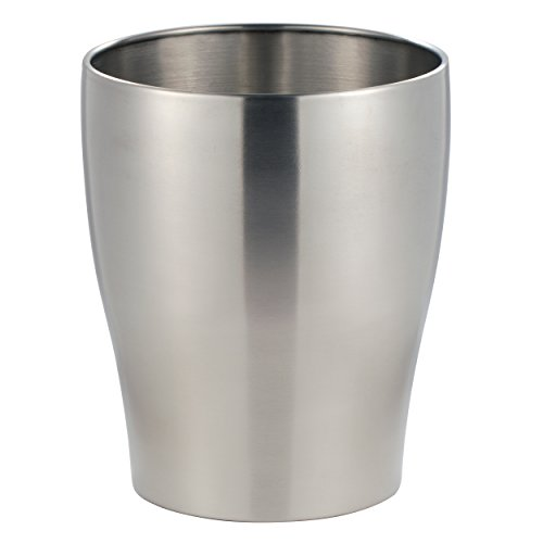 mDesign Wastebasket Trash Can for Bathroom, Kitchen, Office - Brushed Stainless Steel (Stainless Waste Can compare prices)