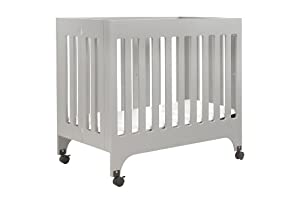 babyletto Grayson Mini Crib with Mattress Pad, Grey