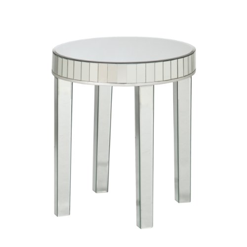 Southern Enterprises 2-Piece Jennings Round Mirrored Nesting Table Set