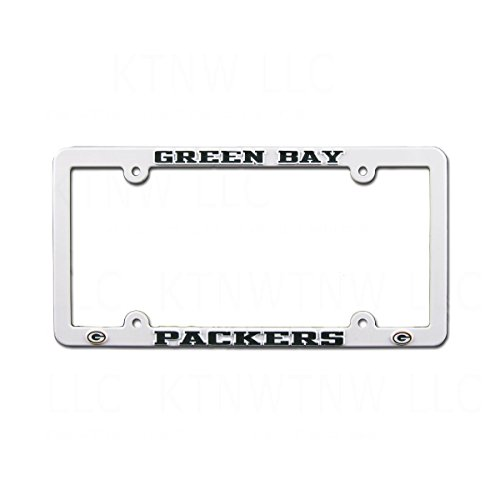 Green Bay Packers White Plastic License Plate Frame from the ...