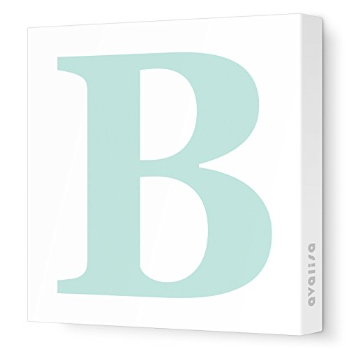 "Avalisa Stretched Canvas Upper Letter B Nursery Wall Art, Aqua, 12"" x 12"""
