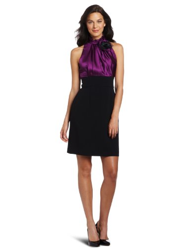 Jessica Howard Women's Hammered Satin Dress, Purple/Black, 12