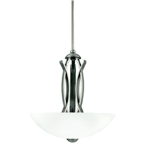 Kichler Lighting 42161AP Bellamy 3-Light Incandescent Inverted Pendant, Antique Pewter