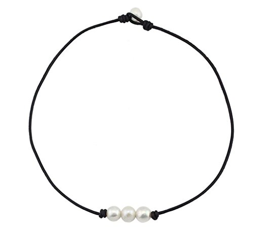 freshwater-pearl-leather-cord-choker-for-women-with-3-simple-aa-quality-beads-necklace-natural-handm