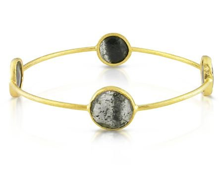 Yellow Gold Plated Silver 16ct TGW Rutilated Quartz Bangle (8in)