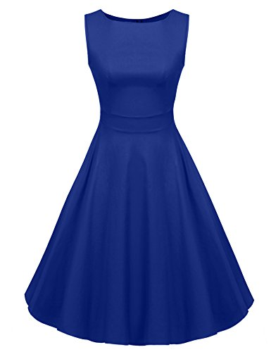 ACEVOG Women's Ladys 1950s Rockabilly Sleeveless Swing Vintage Dress
