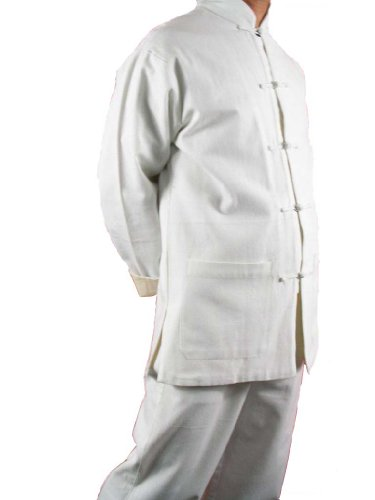 White Premium Linen Kung Fu Martial Arts Uniform Suit L