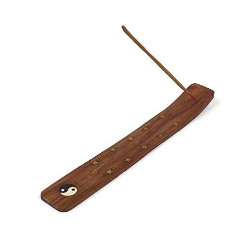 Madera de fresno con diseño de símbolo de Yin incensario de madera tallada Bandeja recogemigas/quemador de esencias con estrellas