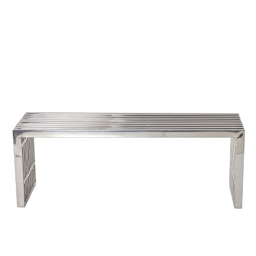 LexMod Medium Gridiron Stainless Steel Bench