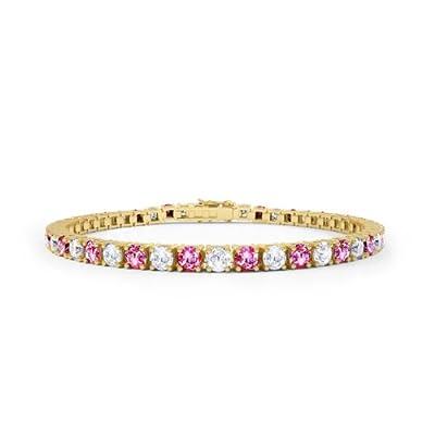 Pink Sapphire & Diamond Gold Tennis Bracelet