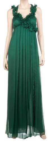 SILK CHIFFON CASCADING ROSETTE EVENING DRESS EMERALD, L