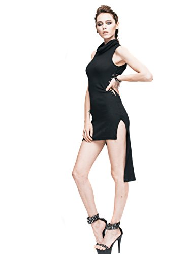 Steampunk Sexy Black Mini Dress Gothic Punk Renaissance Costume Victorian Dress (L) (Punk Fancy Dress Ideas)