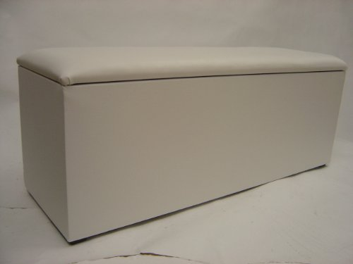 Extra Large White Faux Leather Ottoman