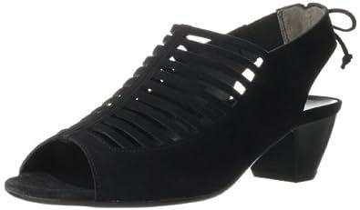 Paul Green Women's Peep-Toe Open Back Ankle Bootie,Black Suede,6 M US