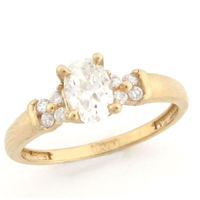 14k Solid Yellow Gold Oval CZ Promise Ring