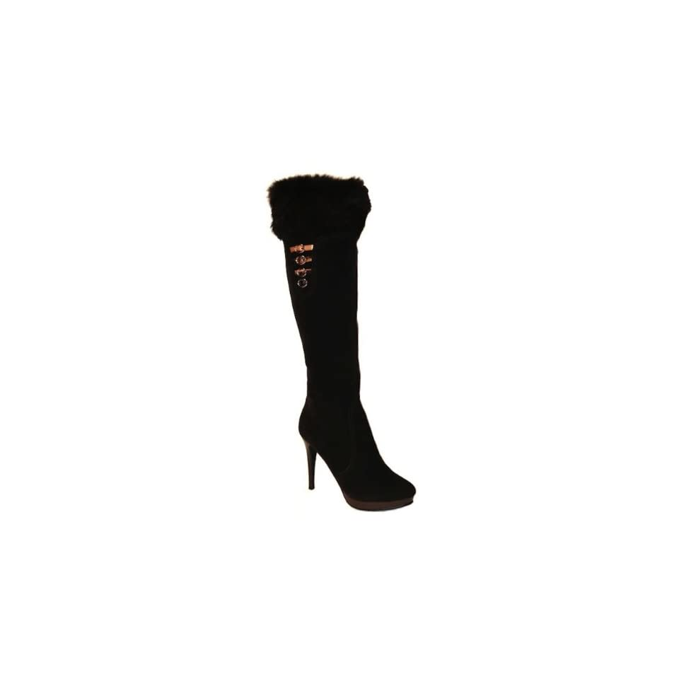 Classic Brown Knee High Boots with Real Rabbit Fur (6.5)