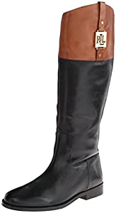 Lauren Ralph Lauren Women's Jaden Riding Boot, Black/Polo Tan Burnished Leather, 10 B US
