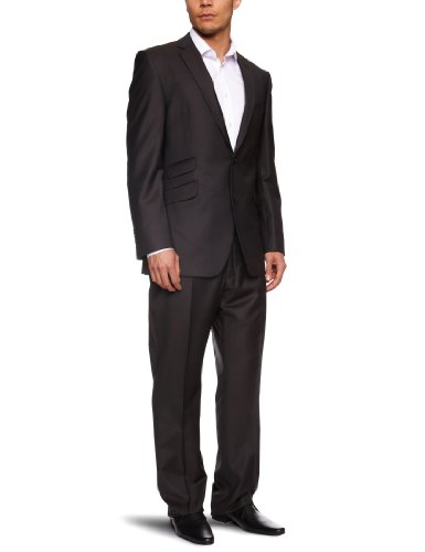 Gibson Plain City Brown Single Breasted Men's Two-Piece Suit